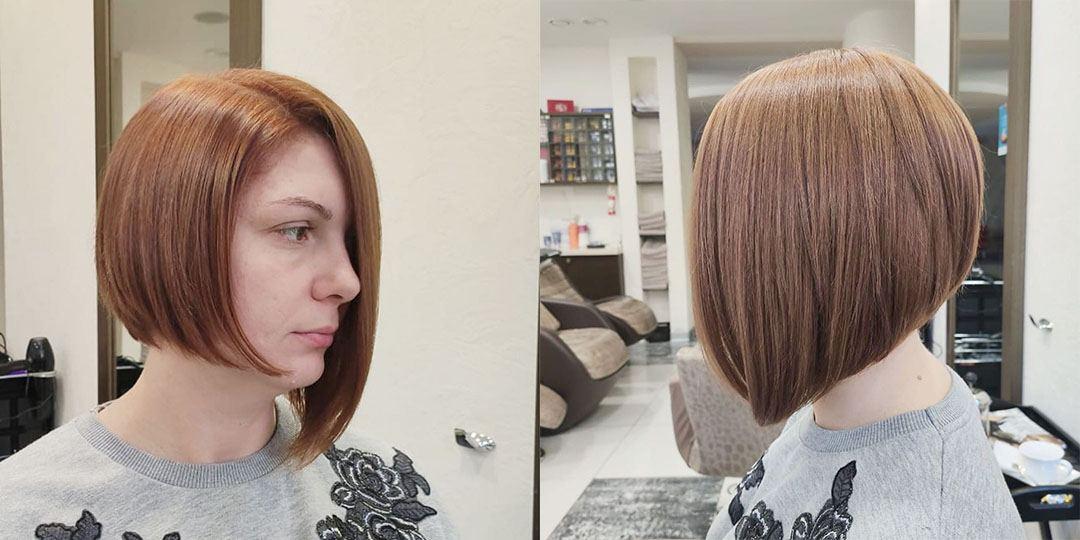 Ассиметричное каре на короткие волосы