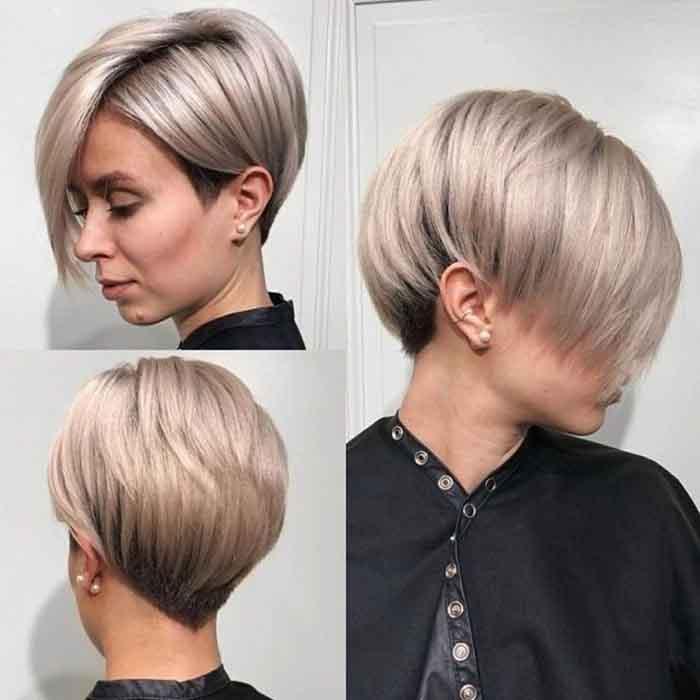 Женская стрижка боб на короткие волосы вид со всех сторон