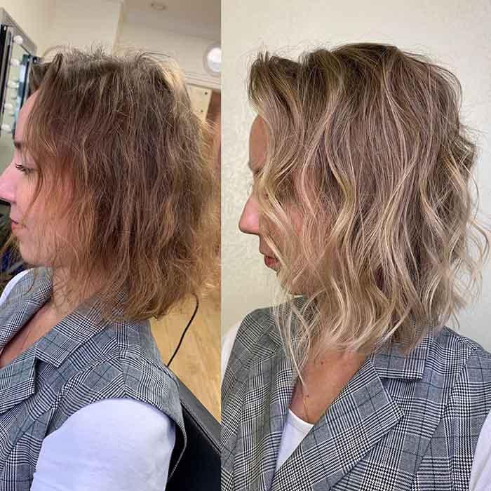 Укладка тонких волнистых коротких волос
