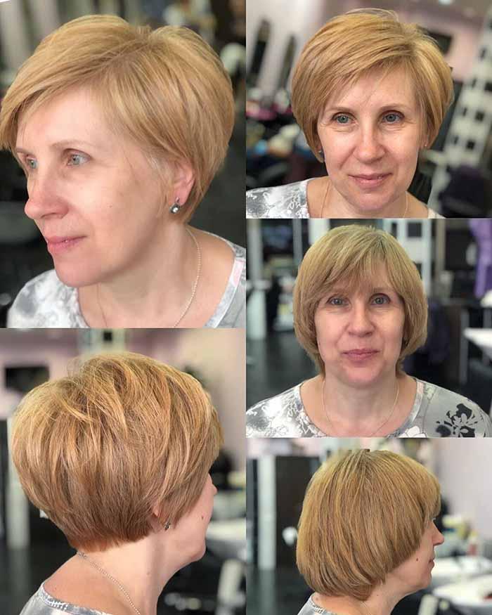 Женская стрижка боб для коротких волос после 40 лет