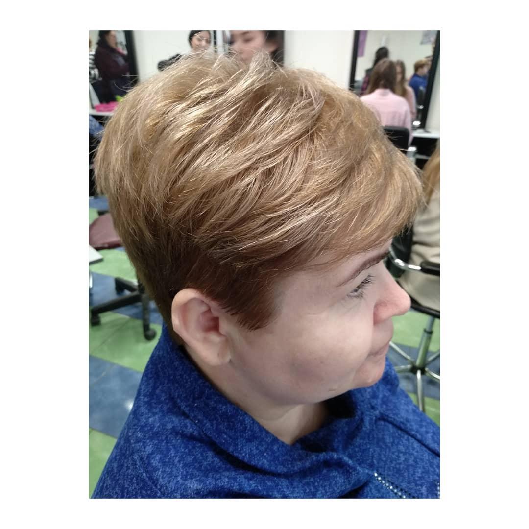Гарсон стрижка на короткие волосы за 50