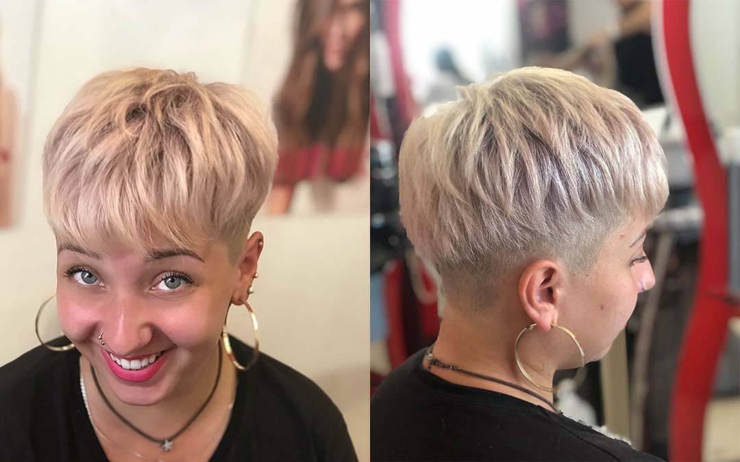 Модная женская стрижка пикси на короткие волосы для круглого лица