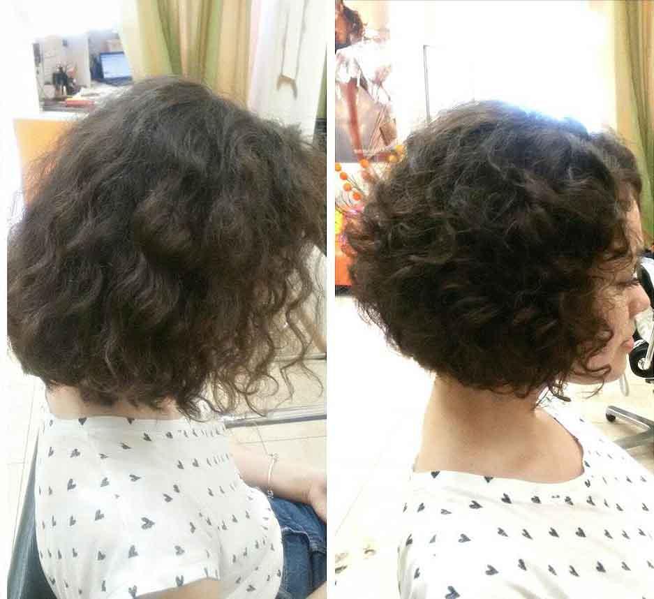 Стрижка боб каре на короткие кудрявые волосы
