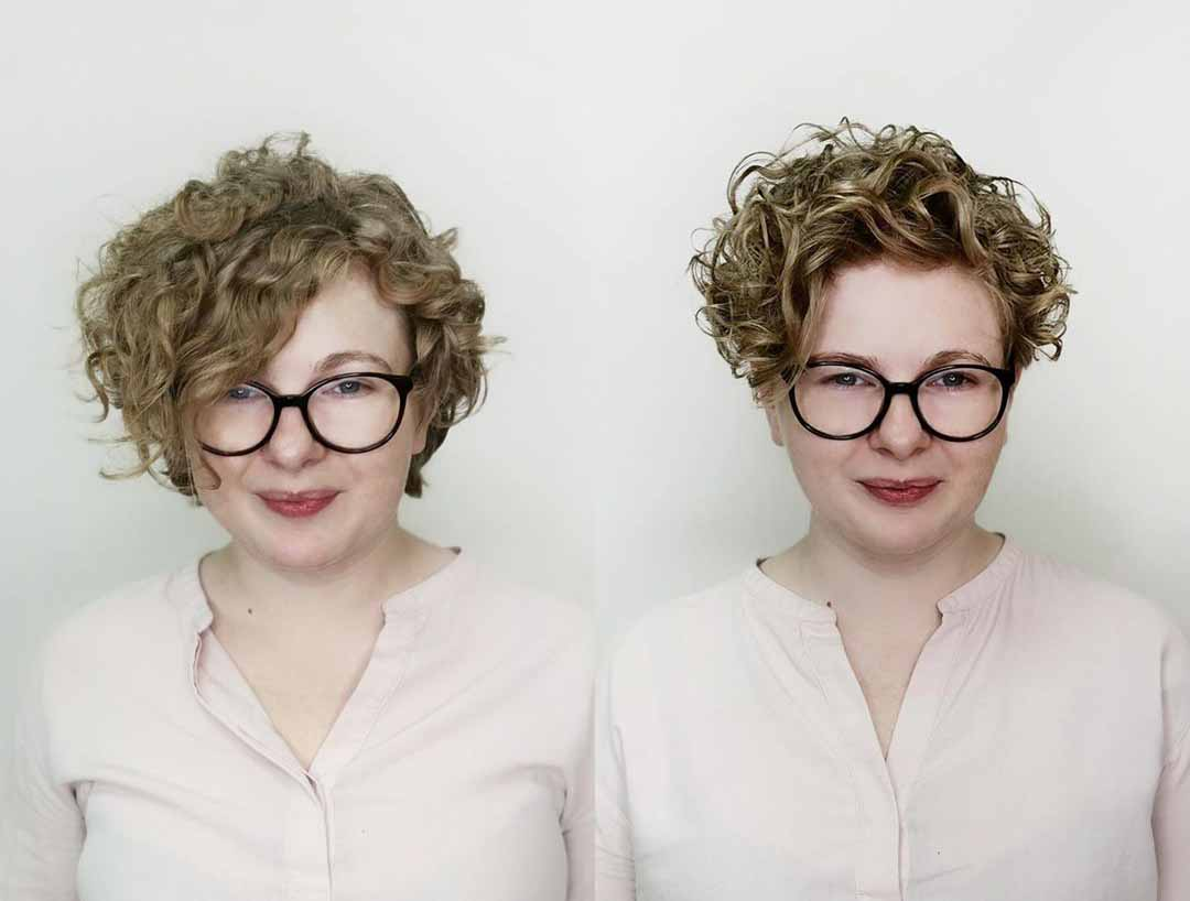 Короткая стрижка для кудрявых волос для круглого лица