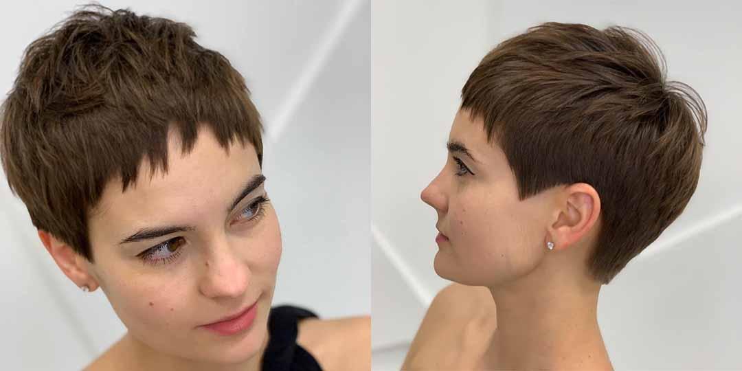 Очень короткая стрижка женская для круглого лица