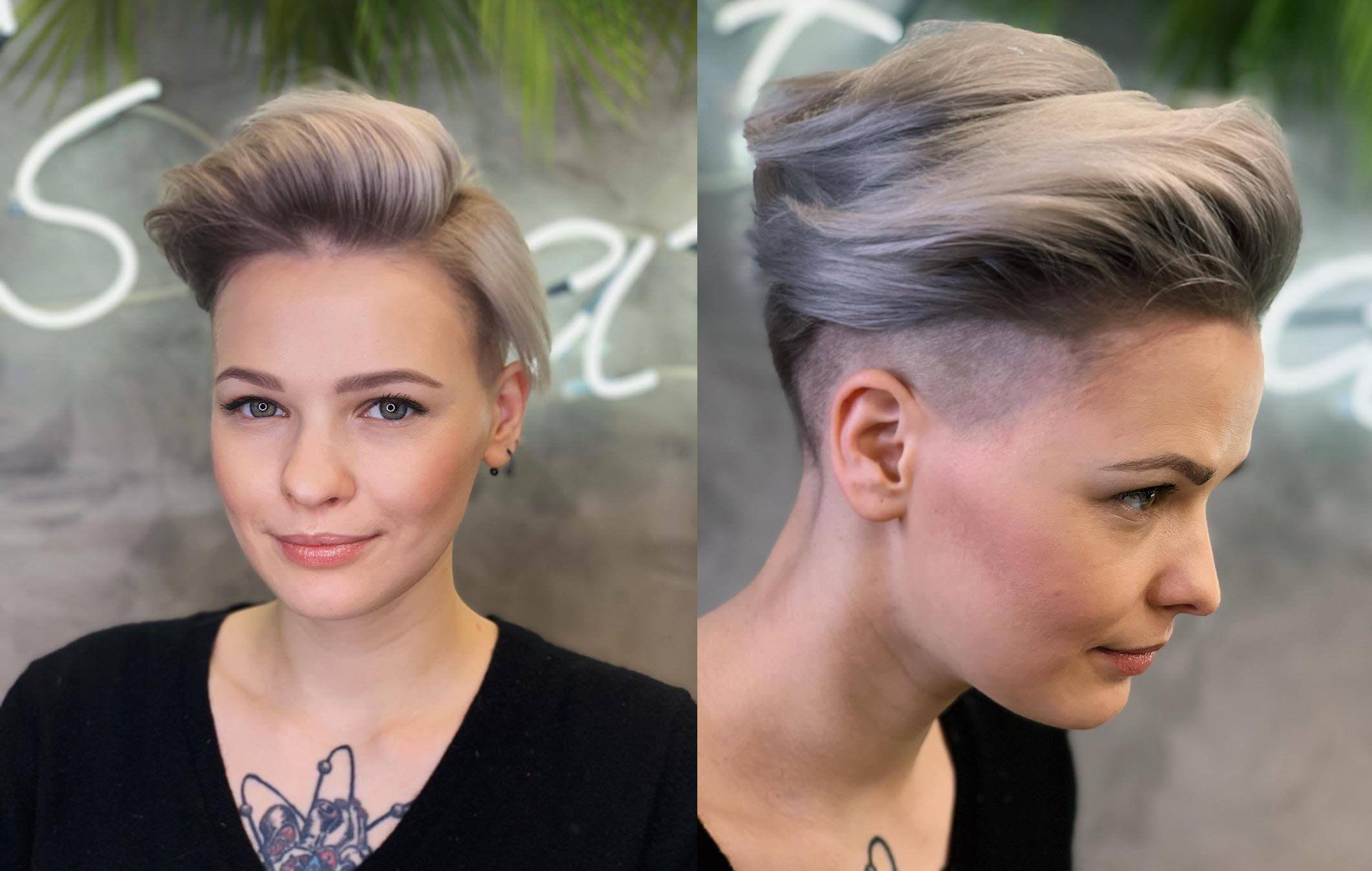 Женская ассиметричная стрижка с челкой на короткие волосы