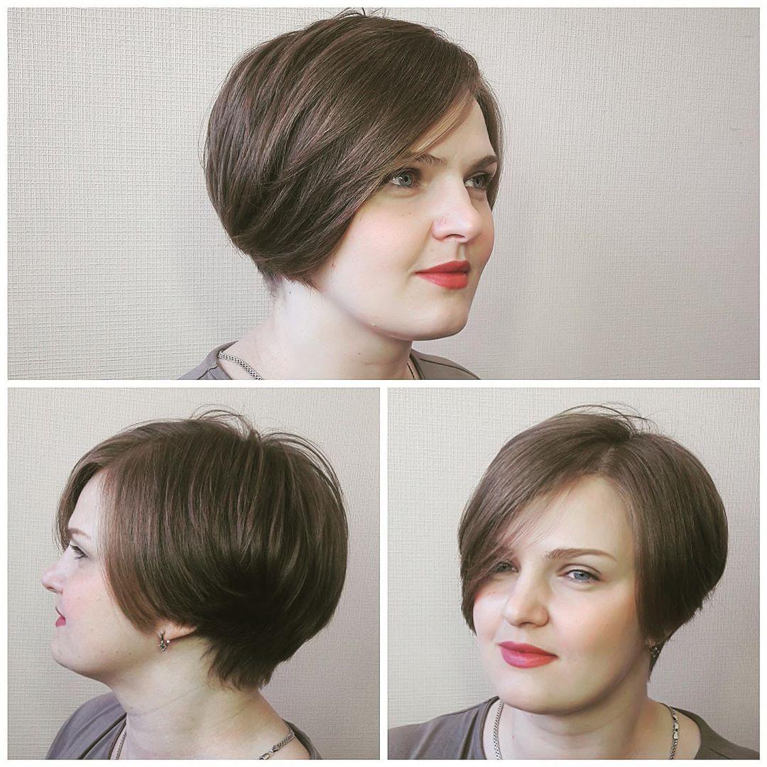 Женская ассиметричная стрижка для круглого лица