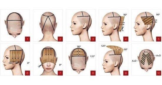 Схема стрижки шапочка