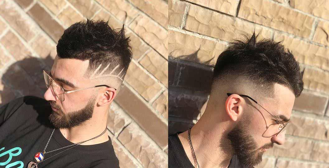 Скин Фэйд(Fade) с выбритым рисунком и бородой