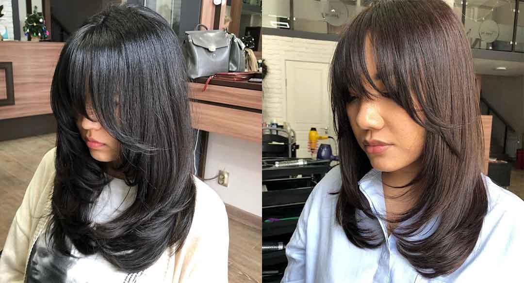 Стрижка лесенкой +на средние волосы с челкой