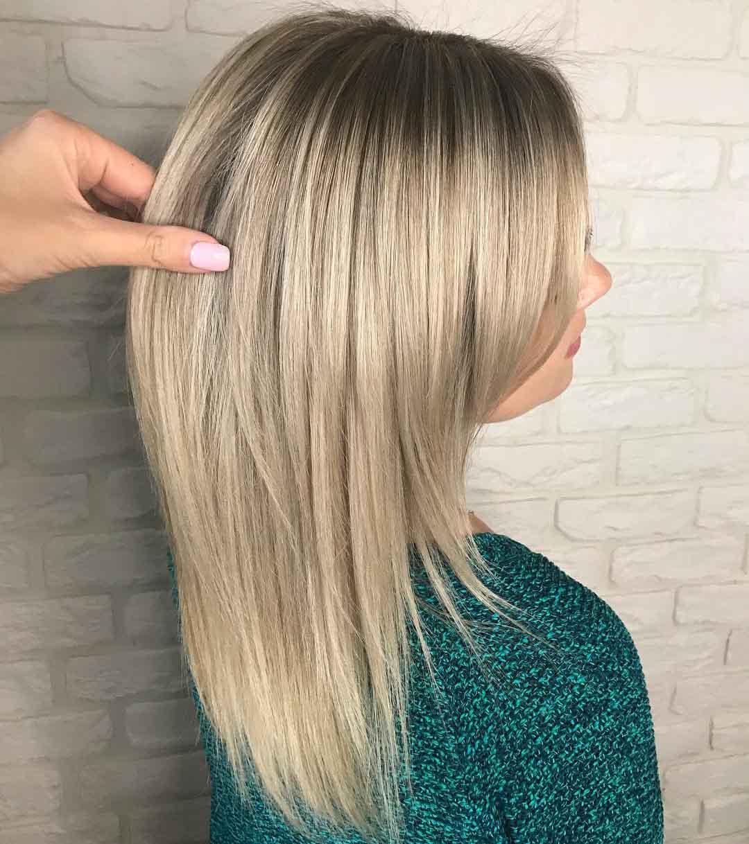 лесенка на средние волосы фото сзади