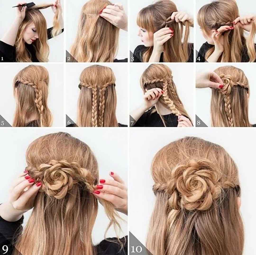 Прическа коса самой себе из стрижки лесенка