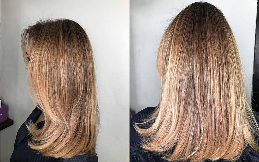 Cтрижка лесенка вид сзади на средние волосы