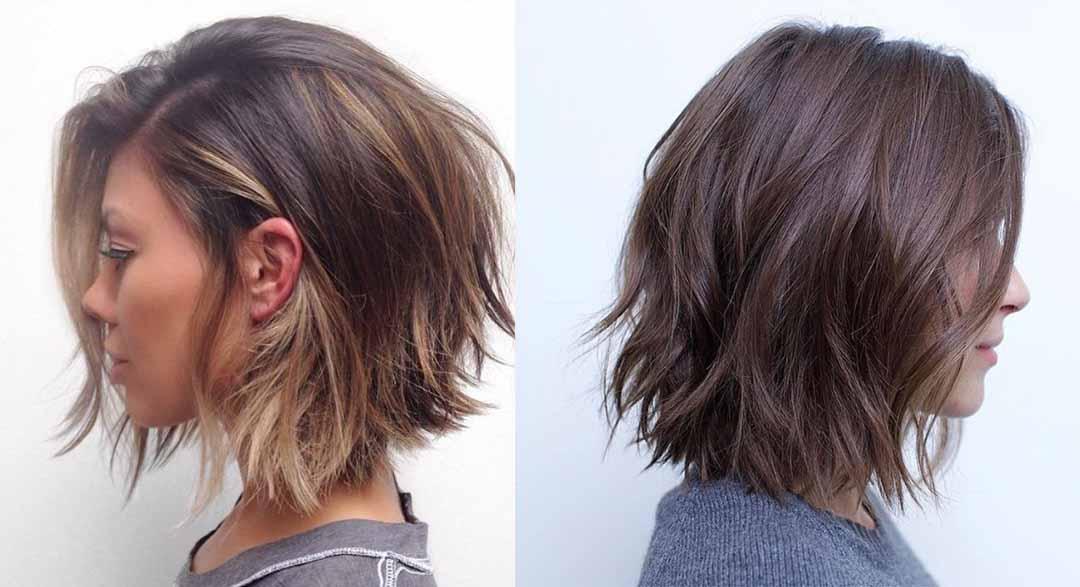 Многослойное каре на средние волосы без челки