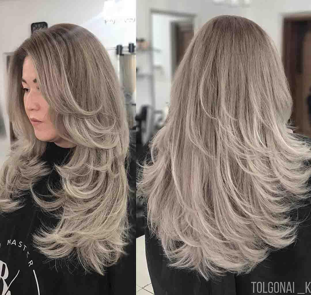 Стрижка итальянка на длинные волосы_вид спереди и сзади