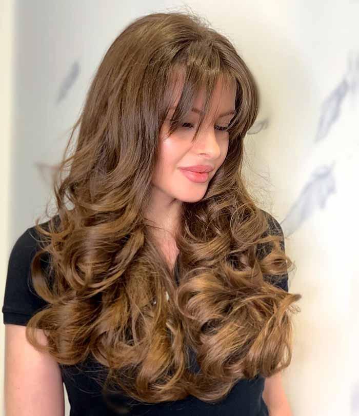 Итальянка стрижка женская на длинные волосы с челкой