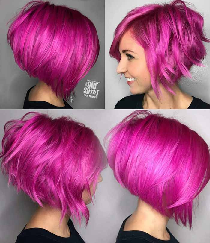 Стрижка пикси-боб окрашивание в розовый цвет
