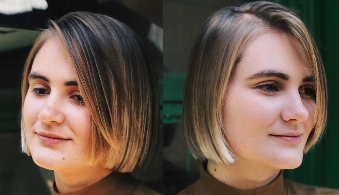 Женское каре на средние волосы с длинной челкой