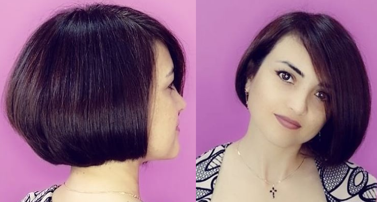 Каре с челкой на средние волосы