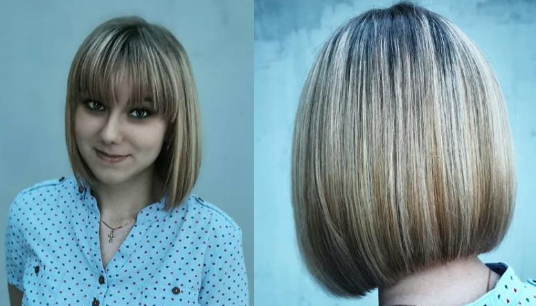 Женское каре на средние волосы с прямой челкой