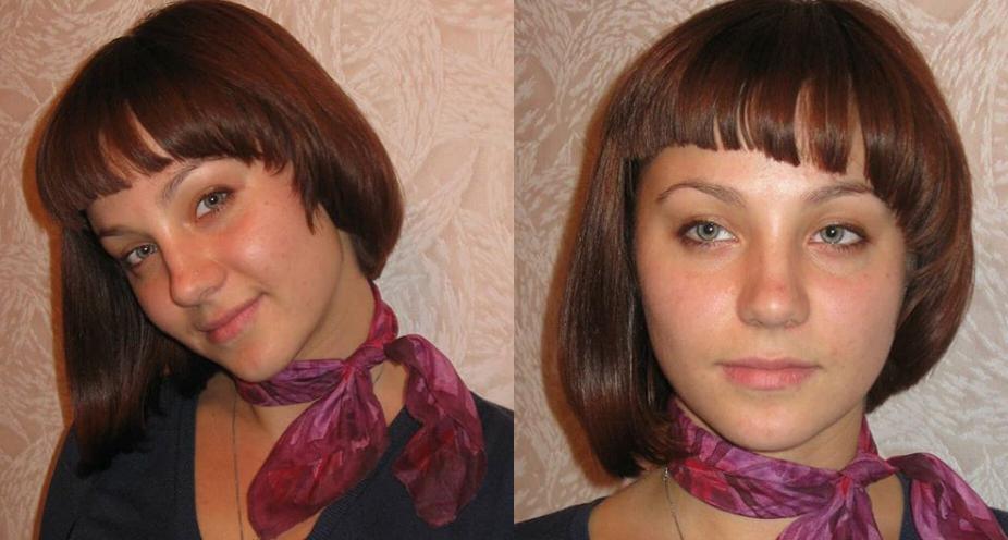 Каре с челкой на средние волосы для типа лица сердце
