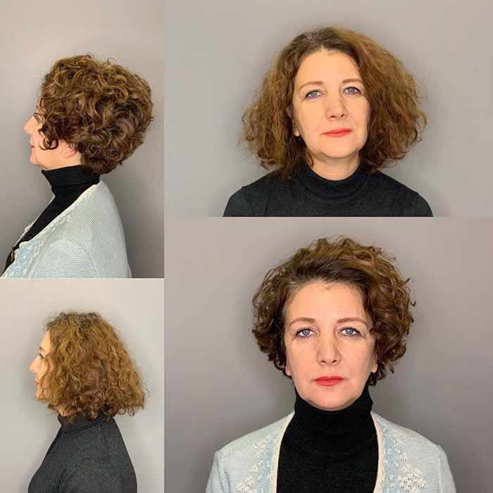Стрижка пикси для женщин за 50 лет для кудрявых волос