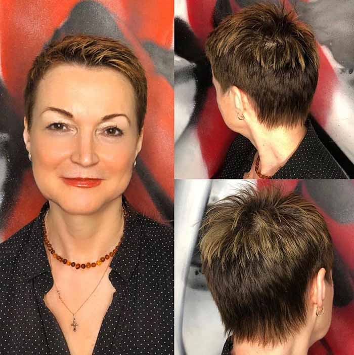 Стрижка пикси для женщин после 50 лет на прямые волосы