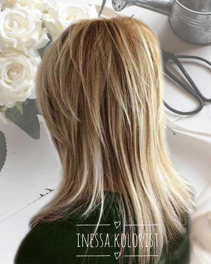 Стрижка аврора на длинные волосы вид сзади