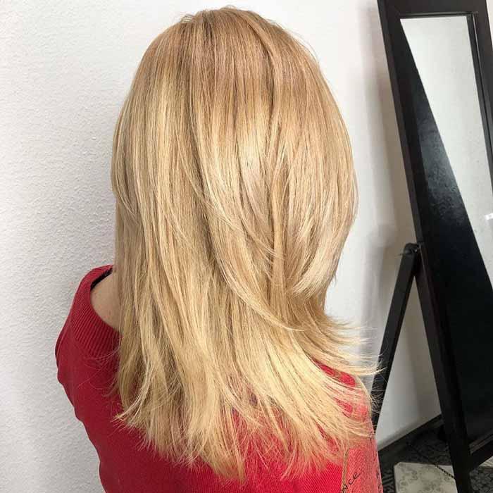 Стрижка аврора на длинных прямых волосах